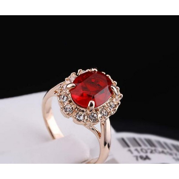 Italina Red Apple 18K Real Gold Plated Ring For Her