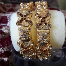Fashionable Indian Gold Plated Rhinestones Polki Bangles for WomenEid