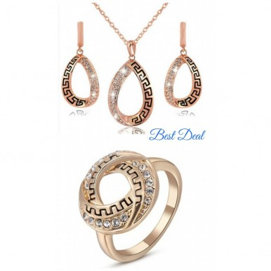 Rose Gold Plated Austrian Crystal Fashion Set For Her