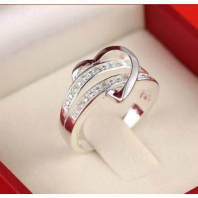 Silver Plated Bling Heart Love Women Ring