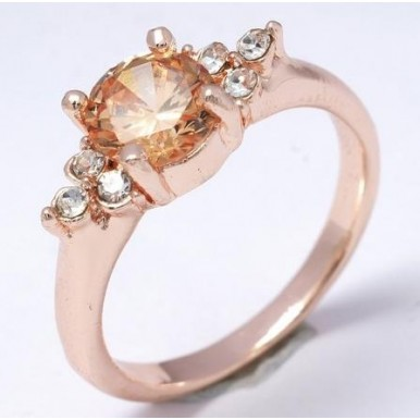 18K Rose Gold Cubic Zircon Classy Ring For Her