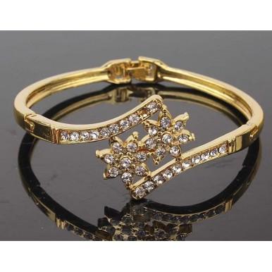 18k Yellow Gold Filled Austrian Crystal Bracelet Bangle For Her