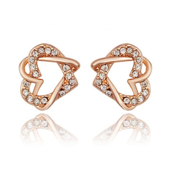 Double Heart Gold Plated Earrings For Her