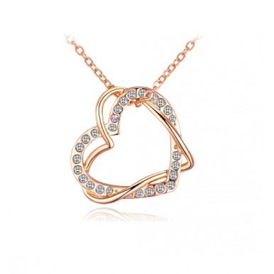 New Design Fashion Womens Style gold color Austrian Crystal Full rhinestone Double heart pendant