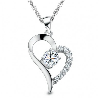 Real White Gold Plated Cubic Zirconial Brand Love Heart Shape Pendant Necklaces For Her