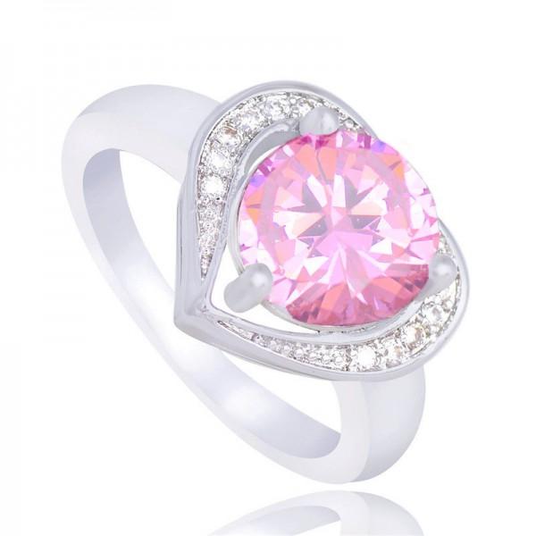 Silver Color Unique Pink Heart CZ cubic zirconia Ring
