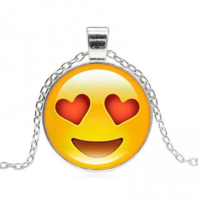 Silver Plated with Glass Cute Emoji Pattern Long Pendant Necklace for Women Gift