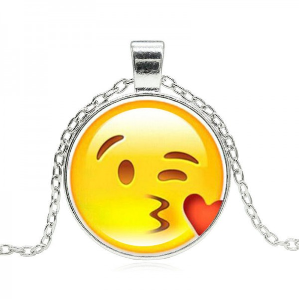 Silver Plated with Glass Cabochon Cute Emoji Pattern Choker Long Pendant Necklace