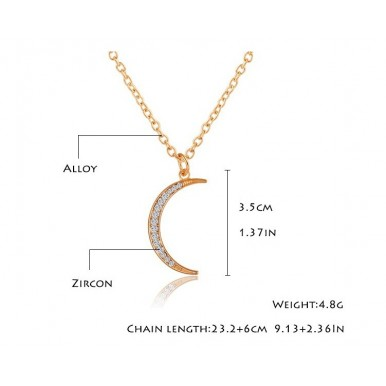 Moon Shaped Gold Plated Necklace For Her