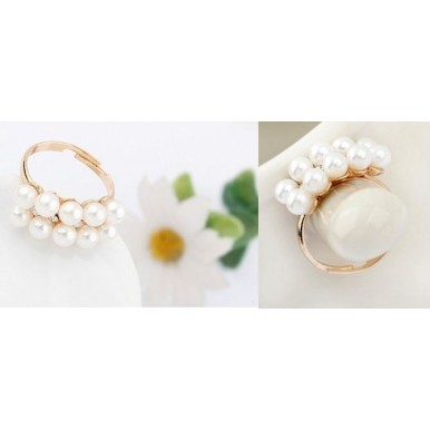 Noble Double Row Pearl Ring For Her
