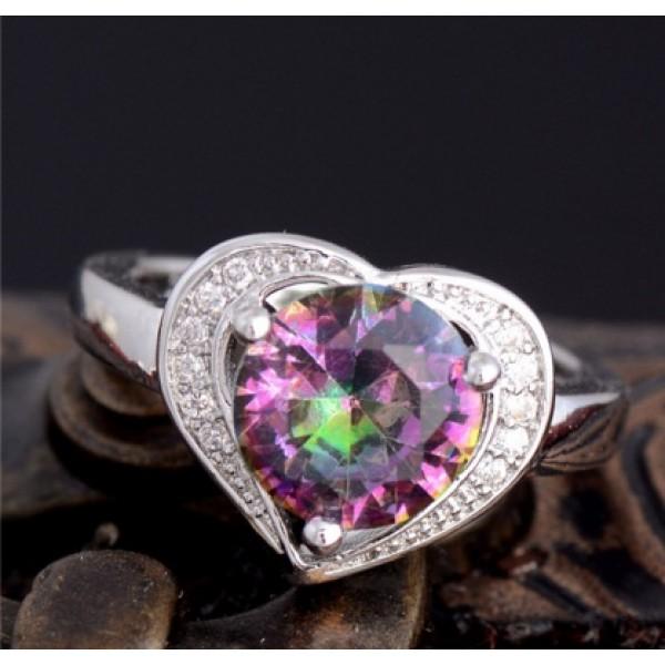 Heart Cut Rainbow Sapphire Fashion Silver Ring