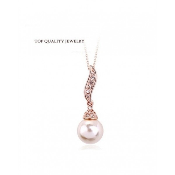 Imitation Pearl Rose Gold Colour Pendant for Her