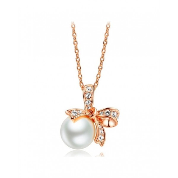 Bowknot Simulated-Pearl Rose Gold Plated Pendant