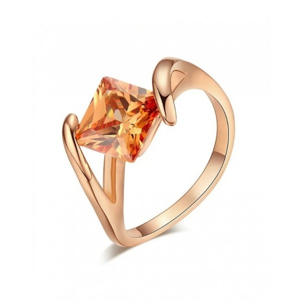 Top Quality Square Orangle Crystal Rose Ring