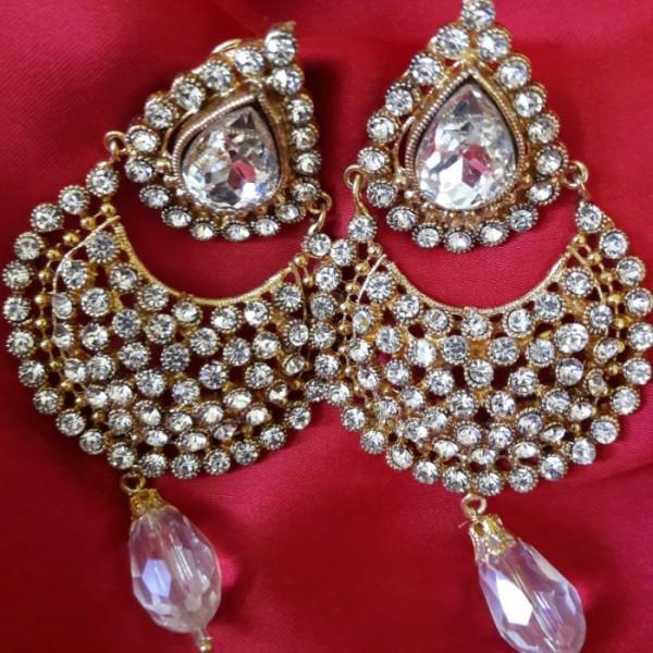 Indian Polki Rhinestone Pearl Chand Bali for Her
