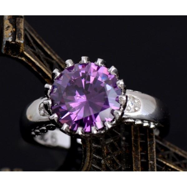 Silver Purple Cubic Zirconia Trendy Charming Ring