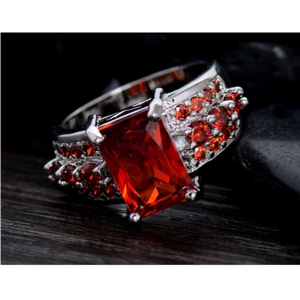 Speacail Gift Sterling Silver Red Cubic Zirconia Fashion Party Finger Ring