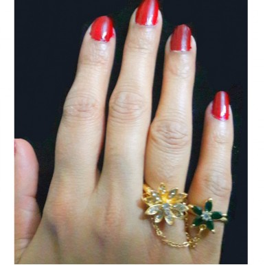 Gold Plated Chain Double Rings for Her