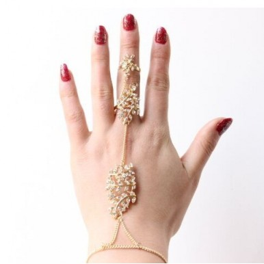 Stylish Long Chain Nail Hollow Character Leaf Rhinstone Ring for woman