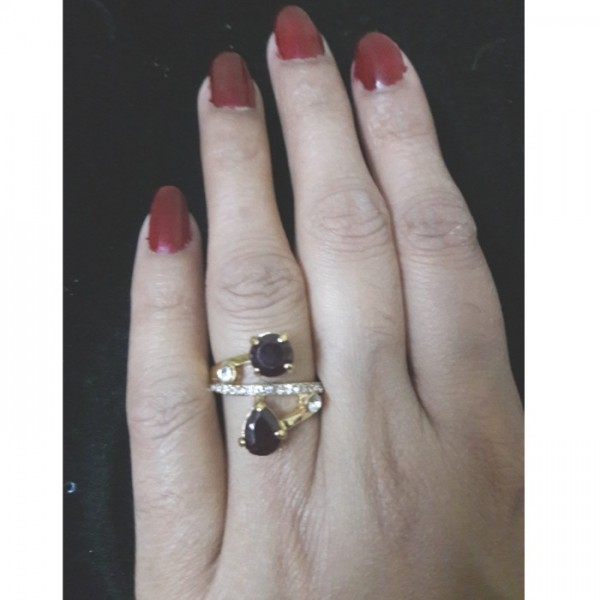Gold Plated Ruby Rhine Stones Rings