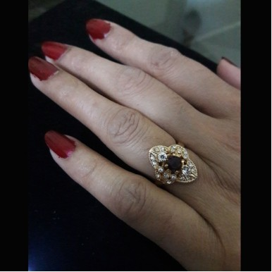 Indian Gold plated Ruby Ring for Ladies