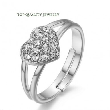 Romantic Heart Crystal Ring Silver Plated Made with Genuine Austrian For Her
