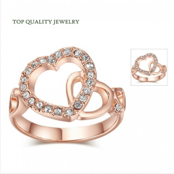 Romantic Dual Hearts Crystals Studded 18K Gold Plated Jewelery Ring For Her