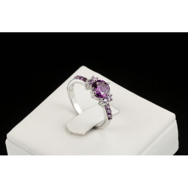 White Gold Plated Fashion Elegant Purple Crystal Ring