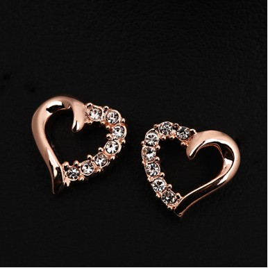 Hollow Heart 18K Rose Gold Plated Earring For Her