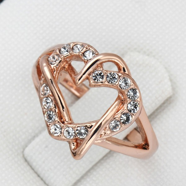 18K Rose Gold Plated Special Gift Ring Austrian Crystal For Her