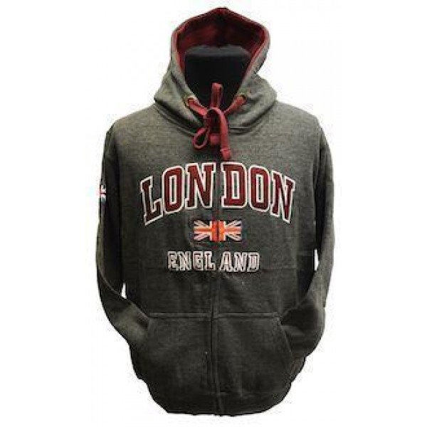 GWCC Unisex London England Zipped Hooded Sweatshirt Charcoal
