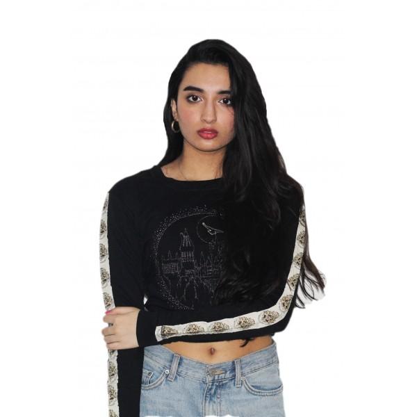 Harry Potter Girls Licensed Hogwarts Sweatshirt with Diamante Stud Prints
