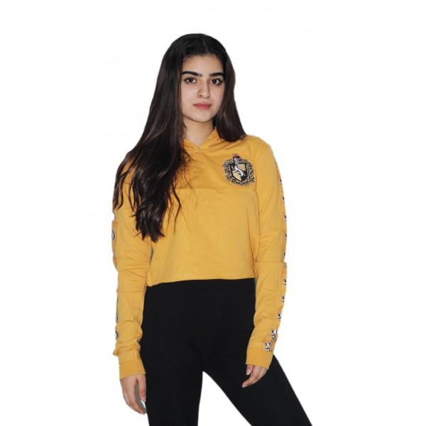 Harry Potter Licensed Girls Hufflepuff House Animal Cropped Hoodie Sweatshirt