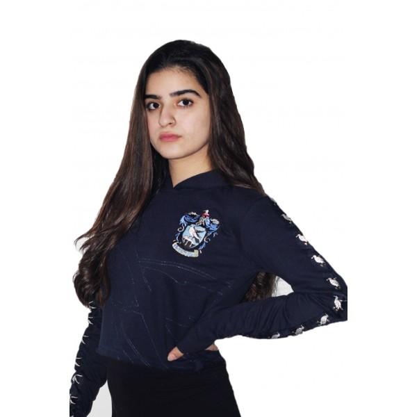 Harry Potter Licensed Girls Ravenclaw House Animal Cropped Hoodie Sweatshirt