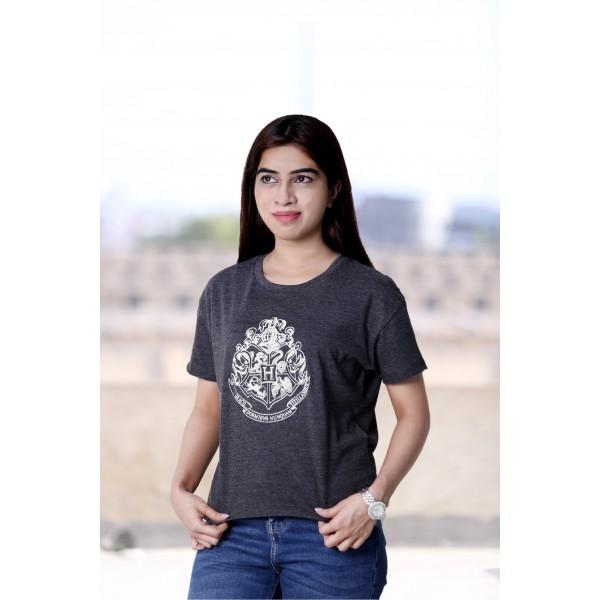 HP106LHW Licensed Harry Potter Hogwarts Girls Grey Crop T-Shirt