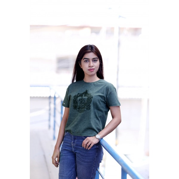 HP106LSLY Licensed Harry Potter Slytherin Girls Green Crop T-Shirt