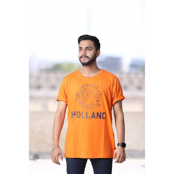 Licensed Fox Unisex T-shirt In Orange Color with Blue Print