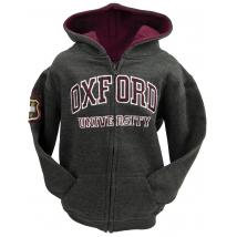 Licensed Kids Zipped Oxford University Hooded Sweatshirt Charcoal