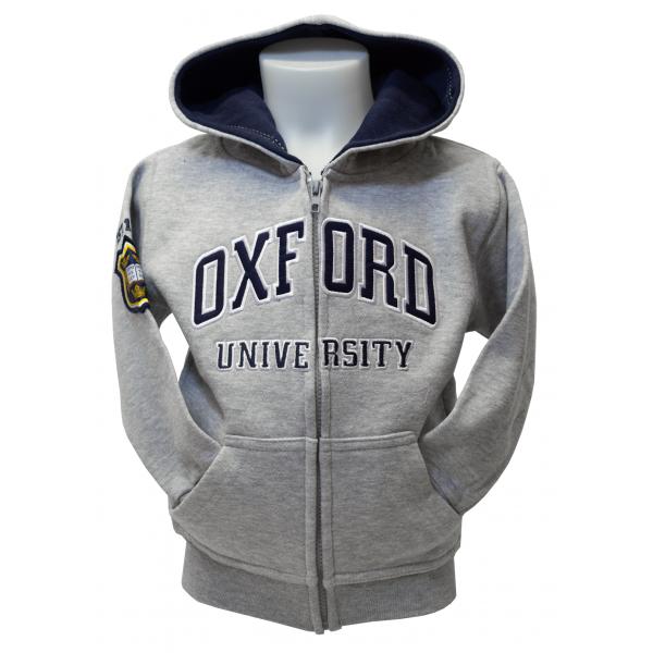 Licensed Kids Zipped Oxford University Hooded Sweatshirt Grey