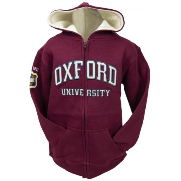 Licensed Kids Zipped Oxford University Hooded Sweatshirt Maroon