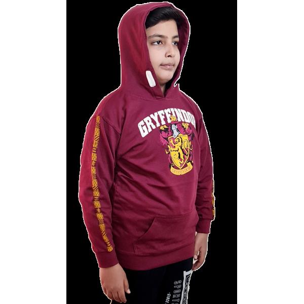 Licensed Unisex Kids Gryffindor Hooded Sweatshirt-Maroon Harry Potter