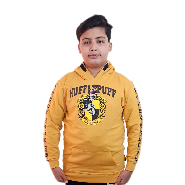 Licensed Unisex Kids Hufflepuff Hooded Hoodie Sweatshirt-Daisy Yellow Harry Potter