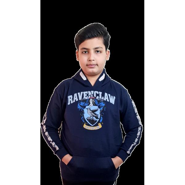 Licensed Unisex Kids Ravenclaw Hooded Hoodie Sweatshirt-Navy Harry Potter