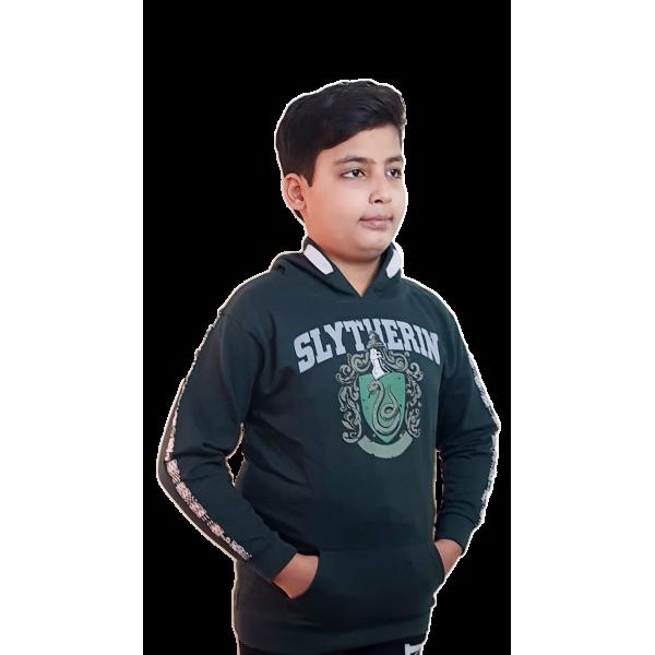 Licensed Unisex Kids Slytherin Hooded Hoodie Sweatshirt-Green Harry Potter