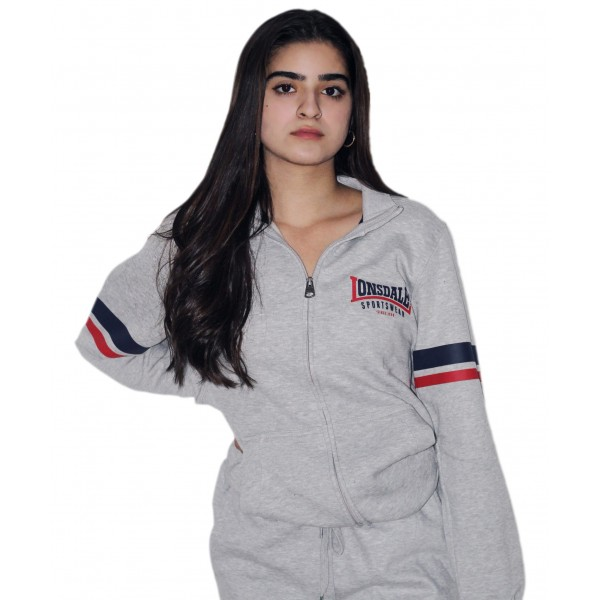Licensed Unisex Lonsdale Zipped Jacket Sweatshirt with 2 Stripes on Sleeves Grey Colour