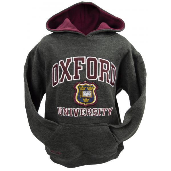 Licensed Unisex Oxford University Kids Hooded Sweatshirt Charcoal