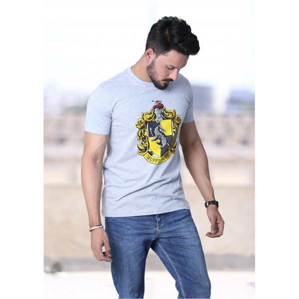 Licensed Unisex Printed Harry Potter Hufflepuff T shirt Charcoal