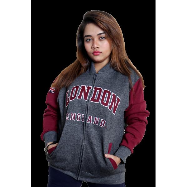 London England Unisex Baseball Jacket Charcoal Maroon