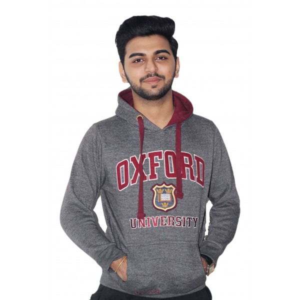 OU129 Licensed Unisex Oxford University Hooded Sweatshirt Charcoal