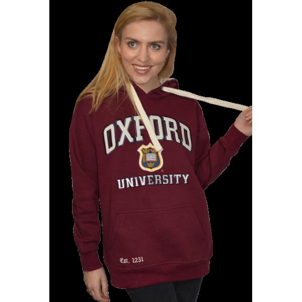 OU129 Licensed Unisex Oxford University Hooded Sweatshirt Maroon